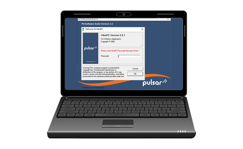 Pulsar PC Suite software open on laptop