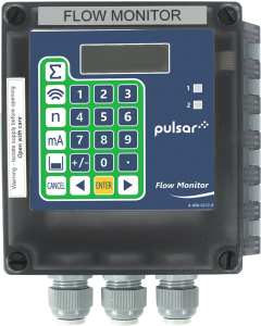Pulsar Flow Monitor front-facing pipe flow measurement display