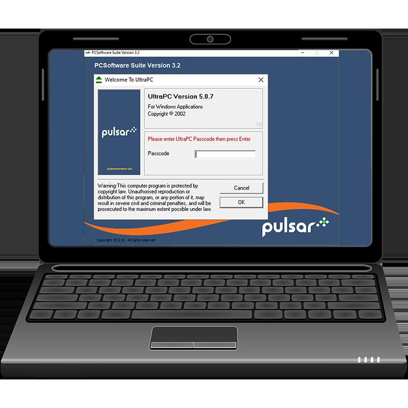 Pulsar PC Suite software open on laptop