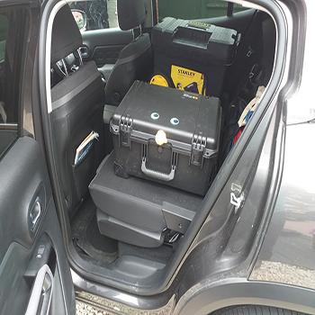 Tommy in Rhys' Car